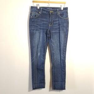 Maurices dark wash distressed slim leg jeans 6